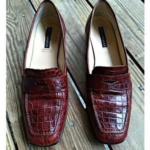 Sesto MeuccI Genuine Crocodile Penny Loafers